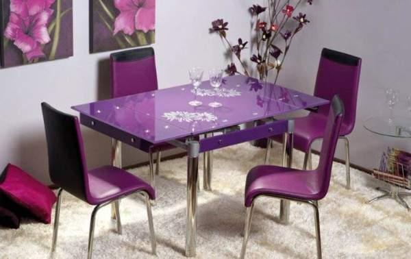 раскладной стеклянный стол для кухни, фото 63