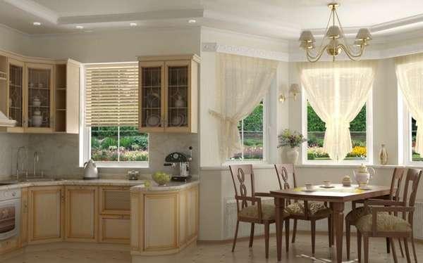 дизайн кухни гостиной с эркером, фото 5