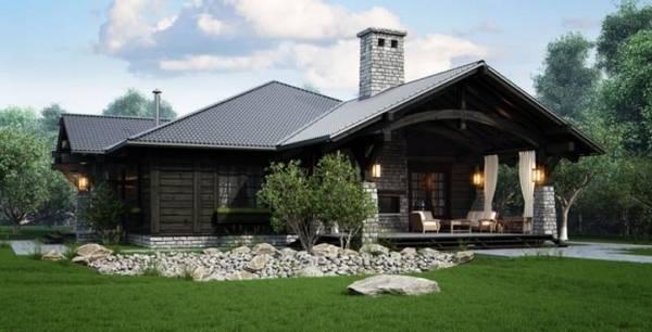 красивые одноэтажные дома с террасой, фото 73