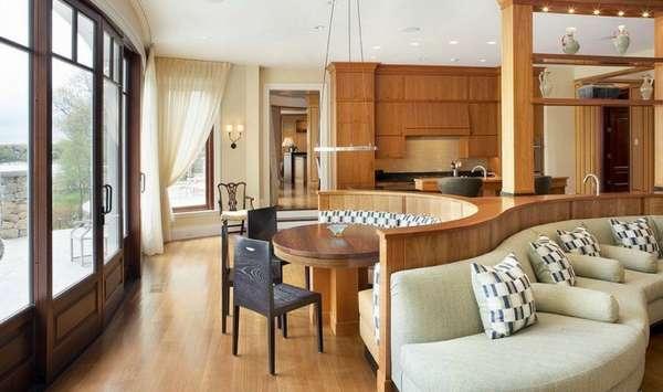 дизайн кухни гостиной в деревянном доме, фото 7