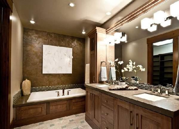 дизайн большой ванной комнаты совмещенной с туалетом, фото 21