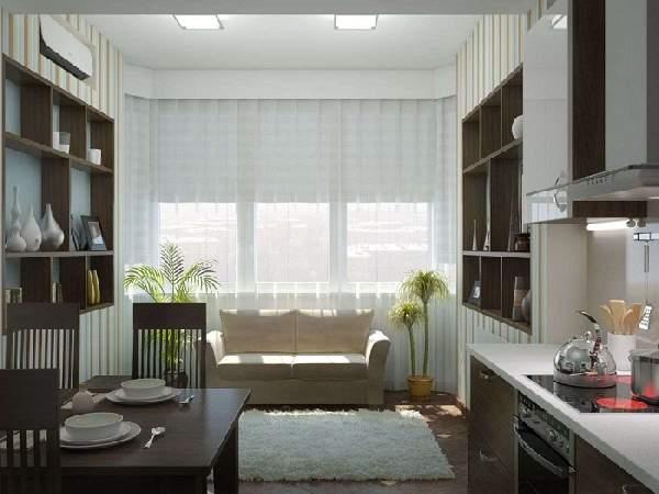 дизайн кухни с балконом и диваном фото, фото 32