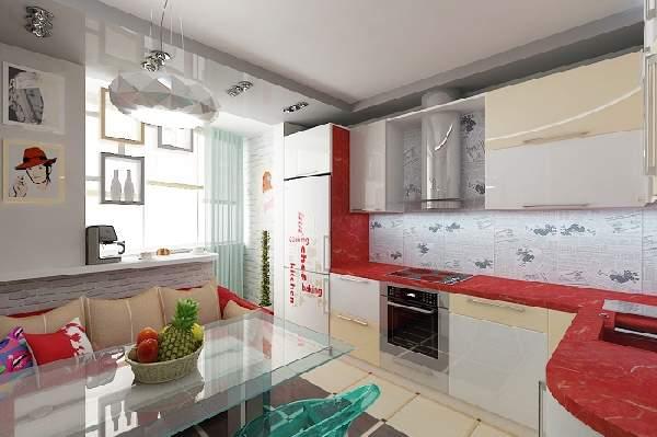 дизайн кухни с балконом и диваном фото, фото 33