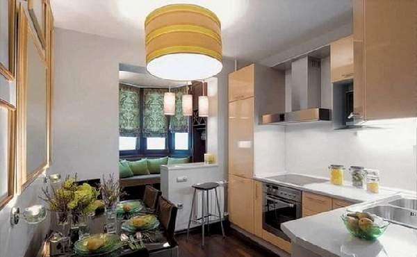 дизайн кухни с балконом и диваном фото, фото 34