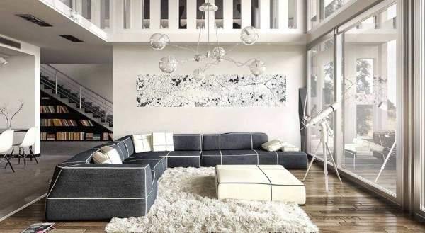 белый ковер с длинным ворсом в интерьере, фото 12