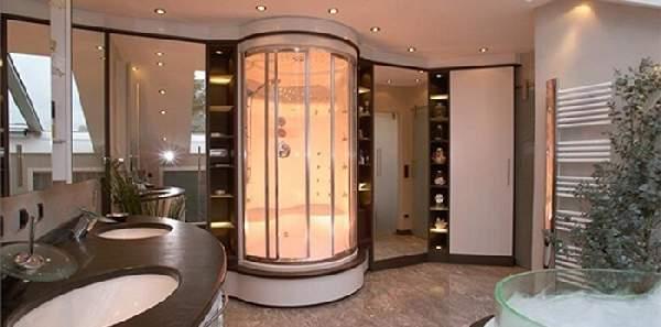 дизайн большой ванной комнаты с душевой кабиной, фото 7