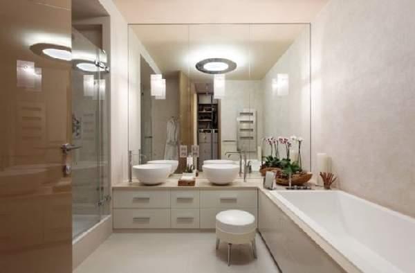 дизайн большой ванной комнаты с душевой кабиной, фото 9