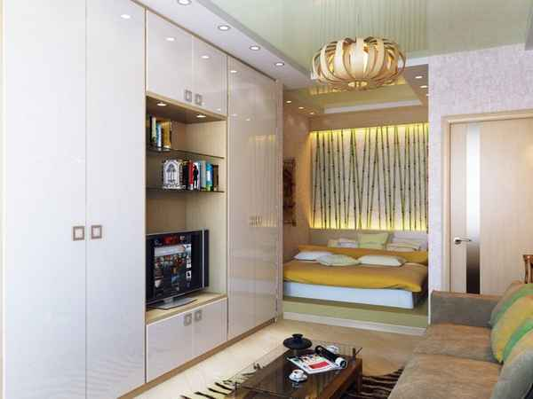 интерьер однокомнатной квартины с балконом, фото 21