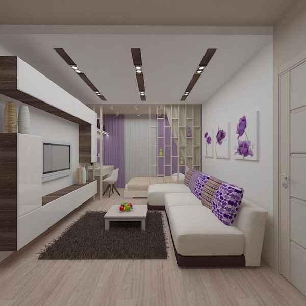 интерьер однокомнатной квартиры с нишей, фото 22