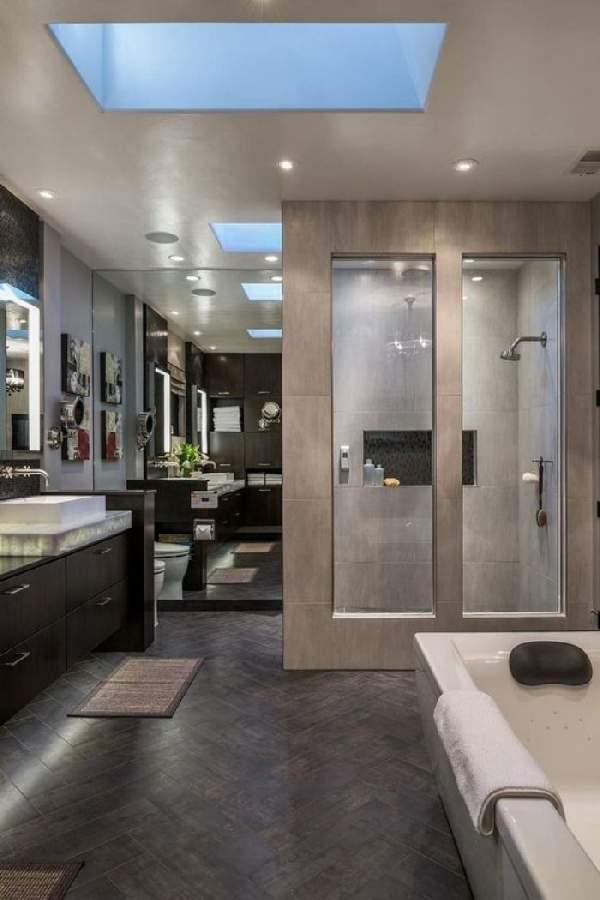 дизайн ванной комнаты с большим зеркалом, фото 39