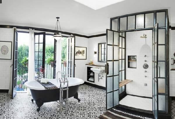 дизайн большой ванной комнаты в частном доме, фото 46