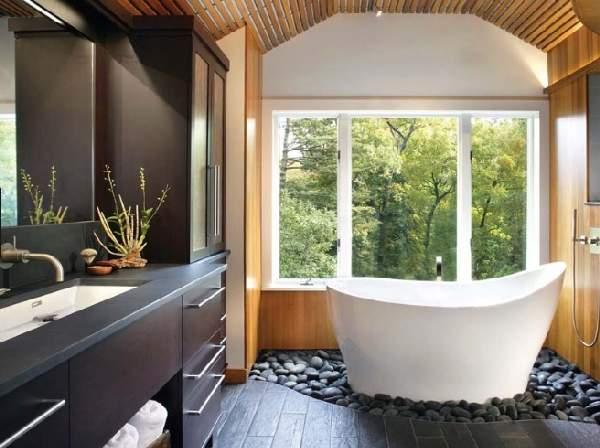 дизайн большой ванной комнаты совмещенной с туалетом, фото 47