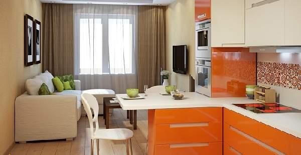 дизайн кухни с диваном 20 кв, фото 9
