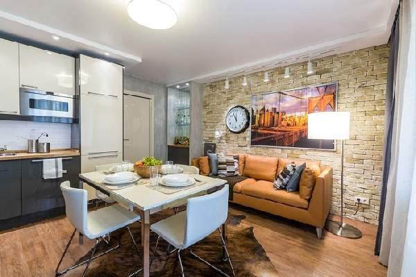 дизайн кухни гостиной с диваном, фото 10