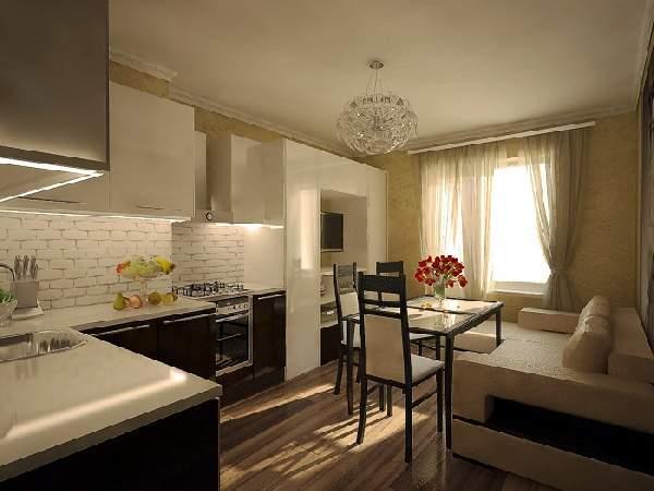 дизайн кухни гостиной с диваном, фото 11