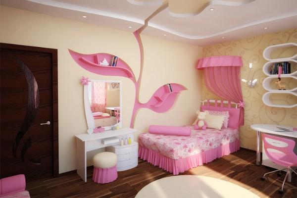 интерьер детской комнаты для девочки в жёлто-розовых тонах