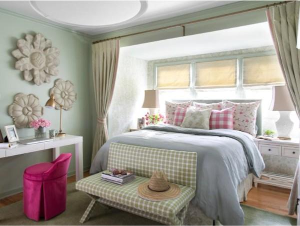 интерьер детской комнаты в розово-зеленой гамме для девочки подростка