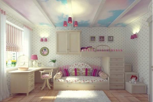 интерьер с белыми обоями для детской комнаты для девочек