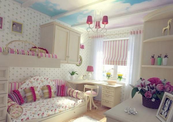 интерьер с белыми обоями и голубым небом для детской комнаты для двух девочек