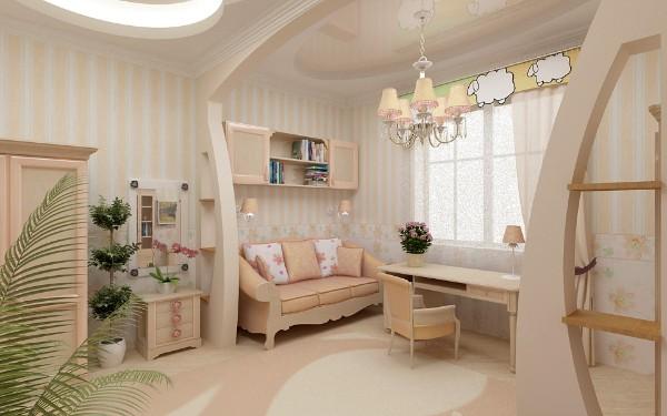 интерьер с обоями в полоску для детской комнаты для девочек