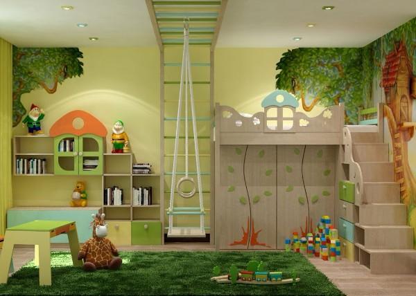 интерьер с природной тематикой детской комнаты для девочки 3 лет
