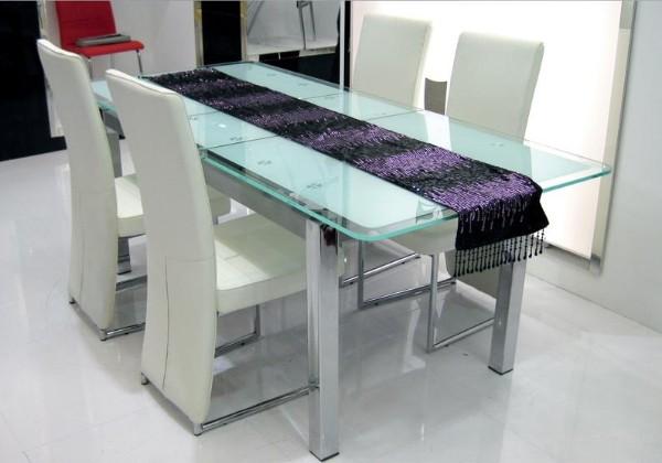 раскладной стеклянный стол с металлическими ножками