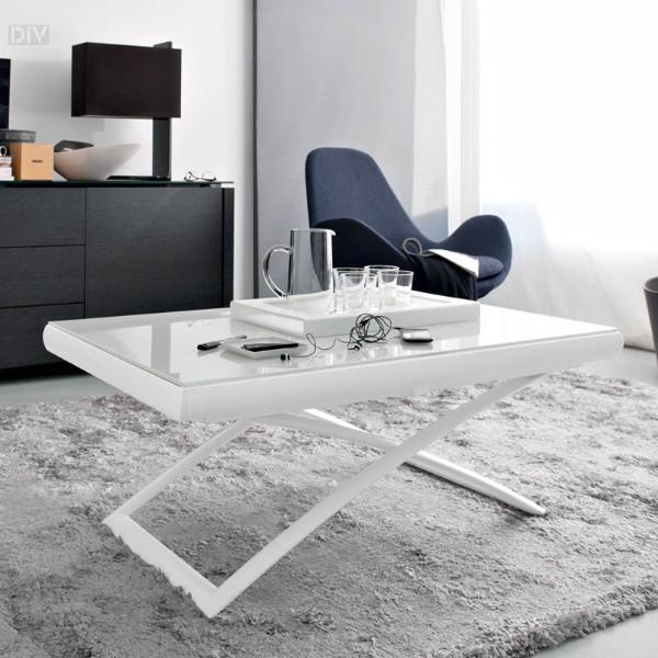 раскладной стол белого цвета со стеклянной столешницей