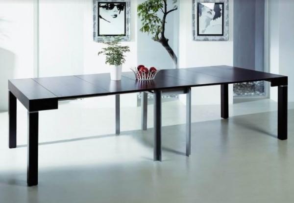 раскладной стол консоль чёрного цвета в дизайне гостиной