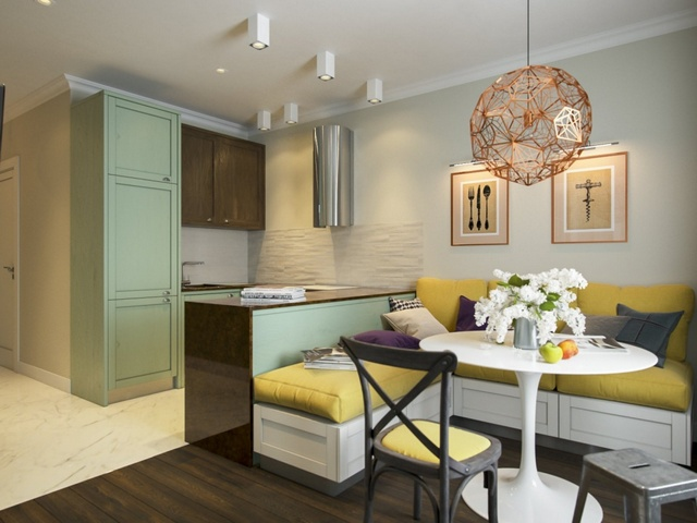 современный дизайн кухни гостиной