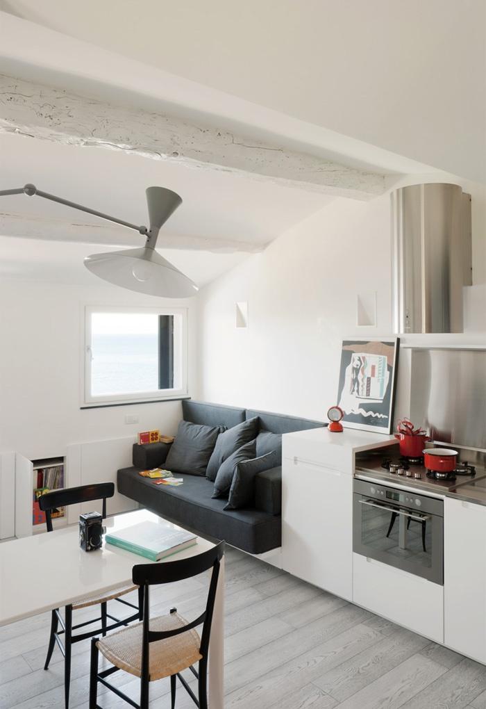 современный дизайн кухни совмещённый с гостиной