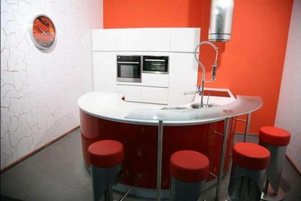 современная небольшая кухня, фото 53