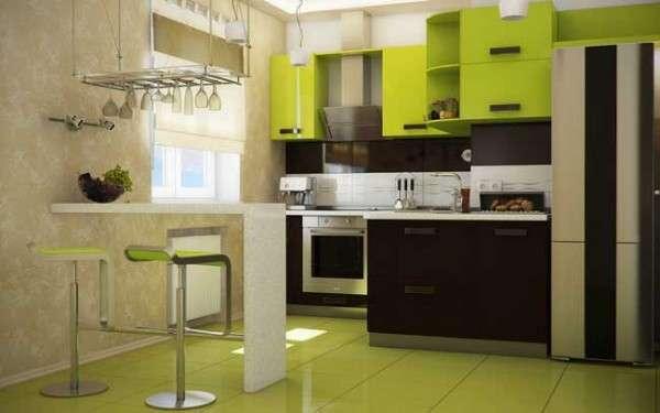 современная небольшая кухня, фото 56