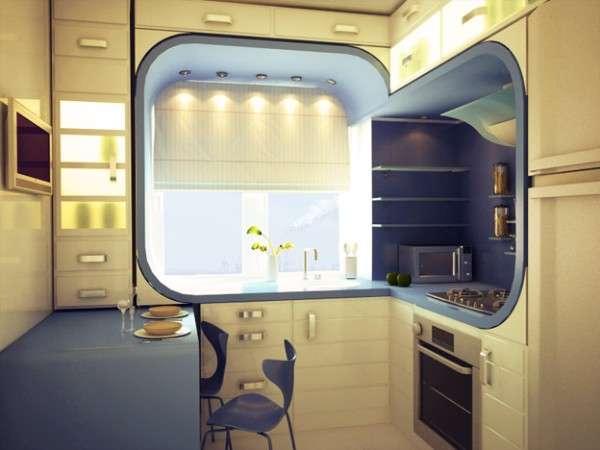 современный интерьер маленькой кухни, фото 35