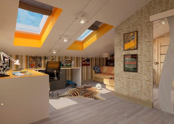 интерьер детской мансардной комнаты, фото 63