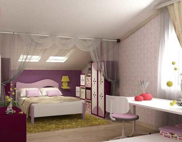 интерьер детской комнаты мансарда, фото 70