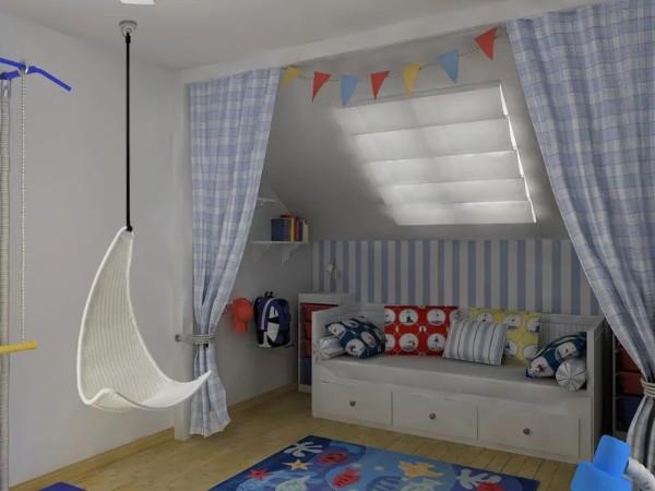интерьер детской комнаты мансарда, фото 71