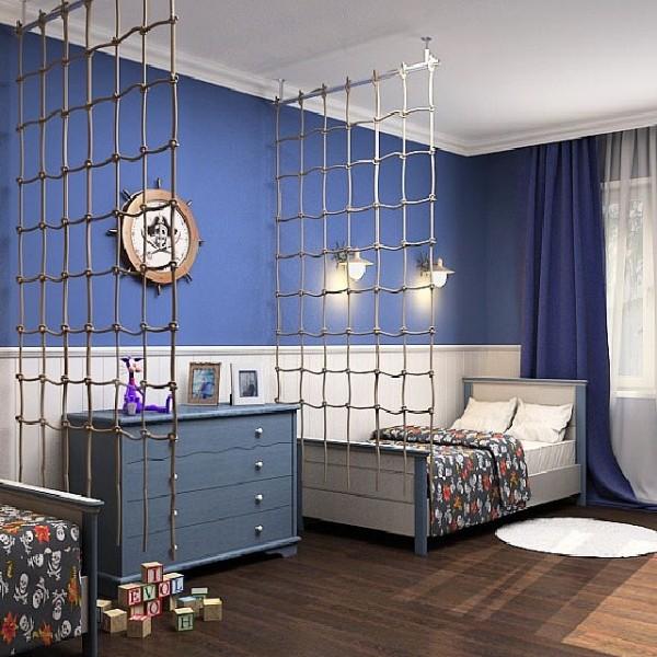 интерьер детской спальни на морскую тематику для двух мальчиков