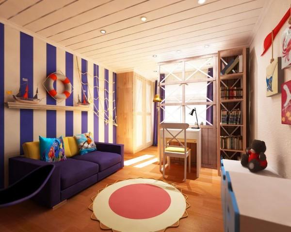 интерьер детской спальни на морскую тематику