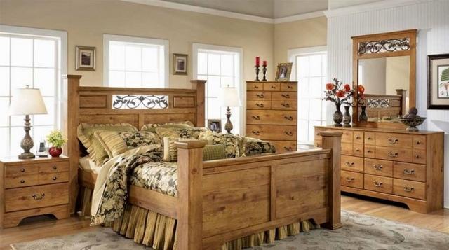 кантри в интерьере спальни