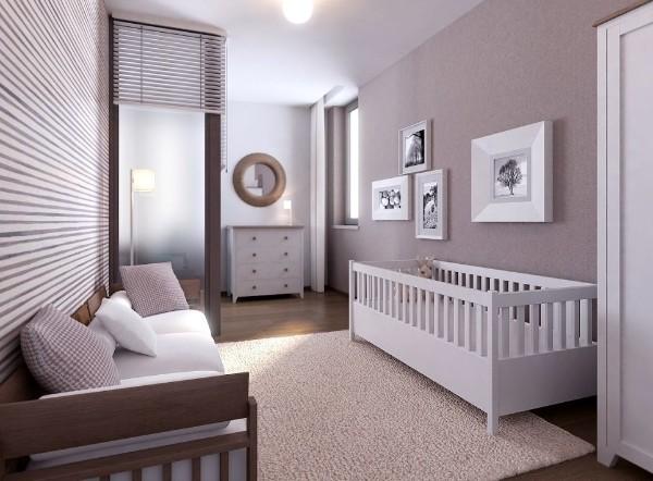 кофейный интерьер спальни с детской кроваткой