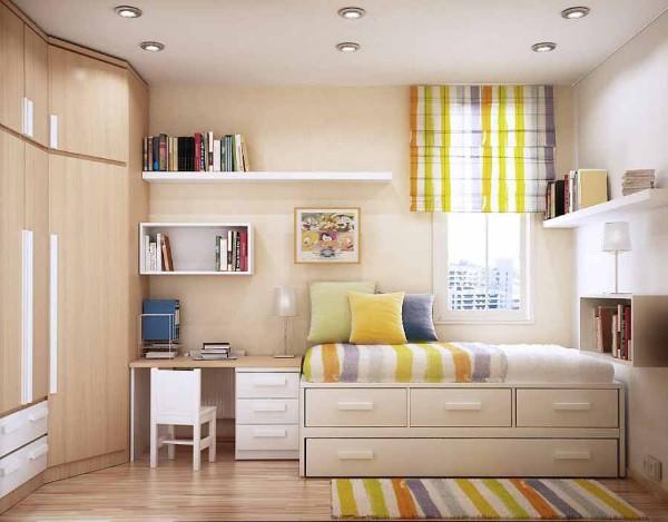 креативный дизайн небольшого интеерьера детской спальни