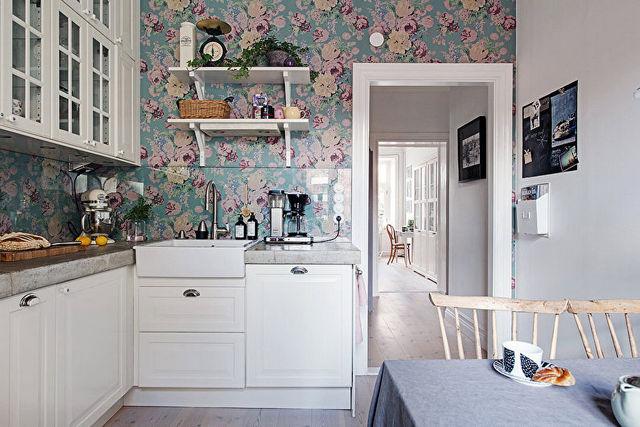 кухня обои цветы фото