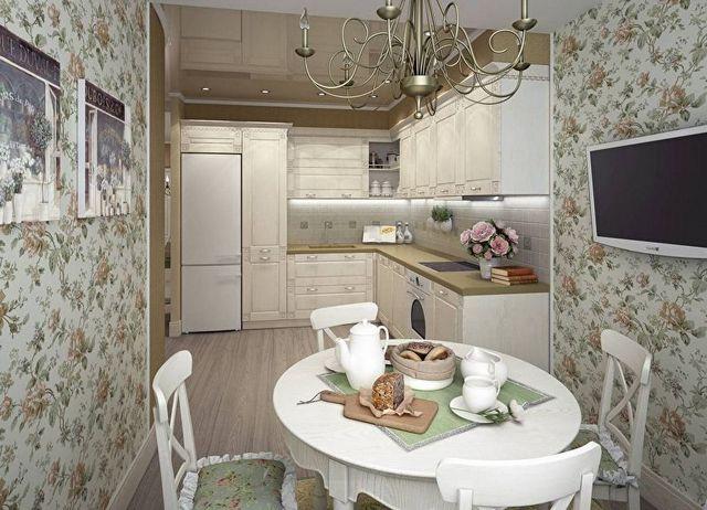 кухня обои цветы