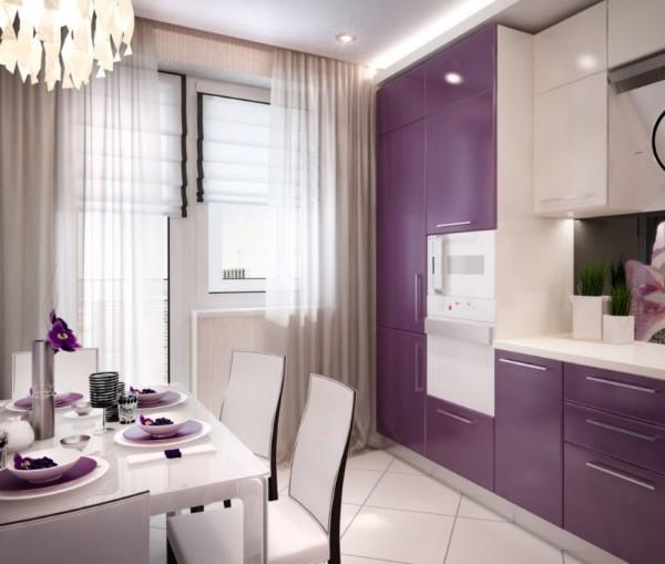 кухонная мебель в бело-сиреневых тонах