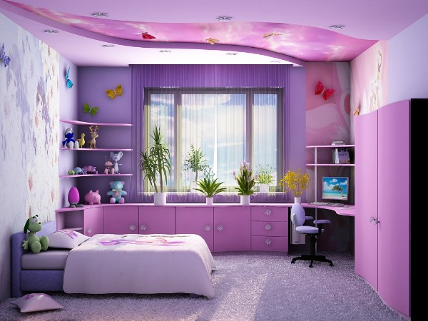 лиловый интерьер детской спальни для девочки