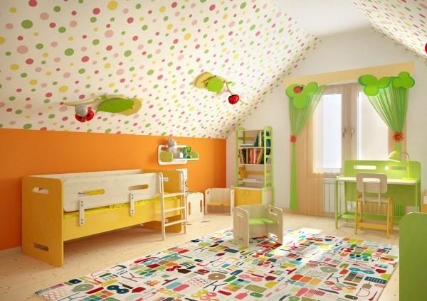 интерьер детской мансардной комнаты, фото 65