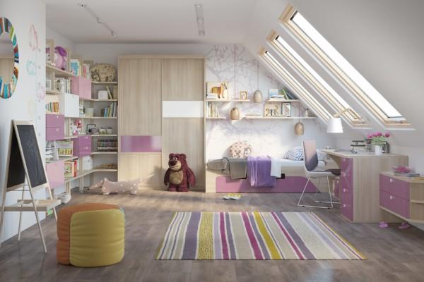 интерьер детской комнаты мансарда, фото 67