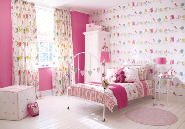 милый розаовы интерьер детской спальни для девочки