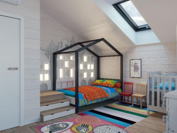 интерьер детской комнаты мансарда, фото 68
