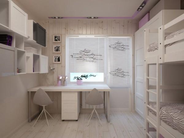 пример дизайна светлого интерьера детской спальни для двух детей
